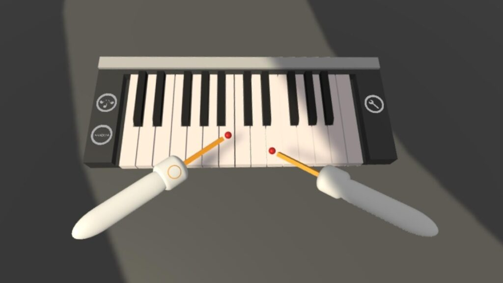 Playing on piano with your controllers in VR
