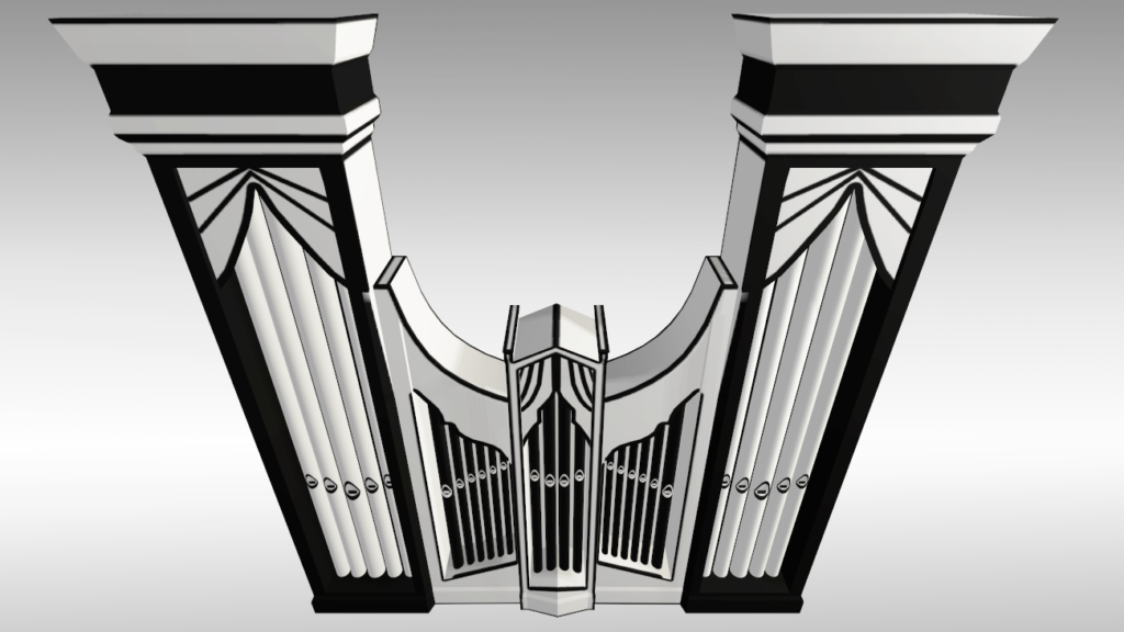 Organ 3D model in lineart graphic used in VR Pianist game