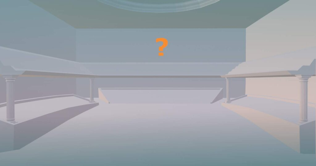 Concert hall - draft of a 3D model used in game VR Pianist, the pastel scene with a question mark created in Blender