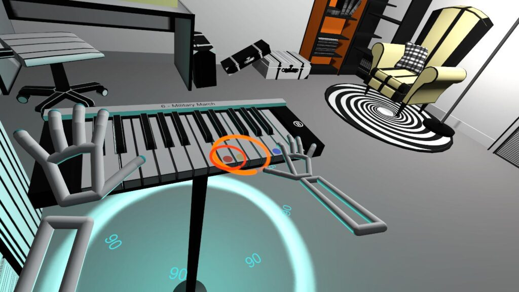 Orange and blue colors in musical game VR Pianist
