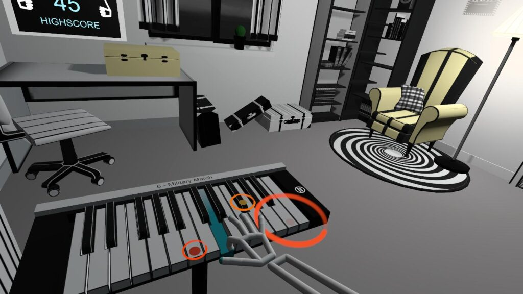 Black and white and colors in VR Pianist