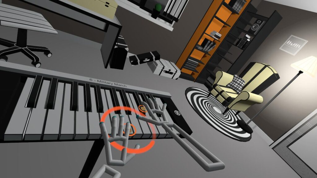 Rythm game VR Pianist - playing on a virtual piano