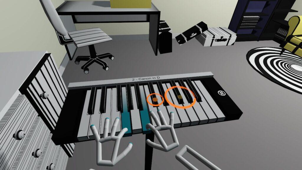 Blue pressed keys on virtual keyboard in VR pianist game
