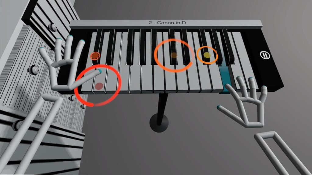 Colorful circles in VR Pianist game
