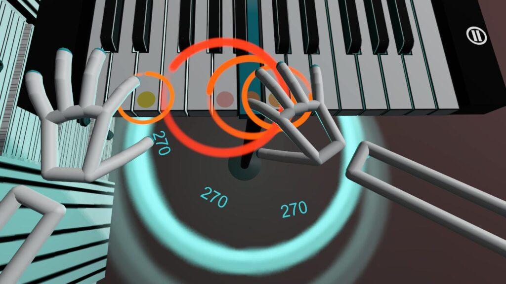 Orange circles in VR Pianist games