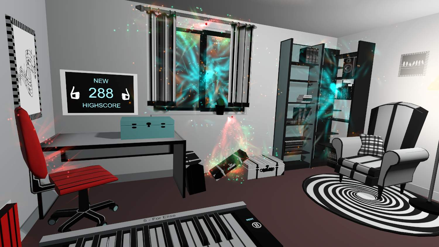 VR Piano - colorful world in virtual game VR Pianist