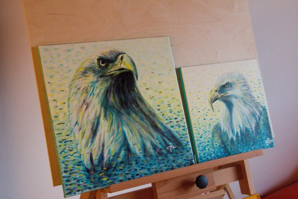Painting of eagles with acrylic by game developer of VR Pianist