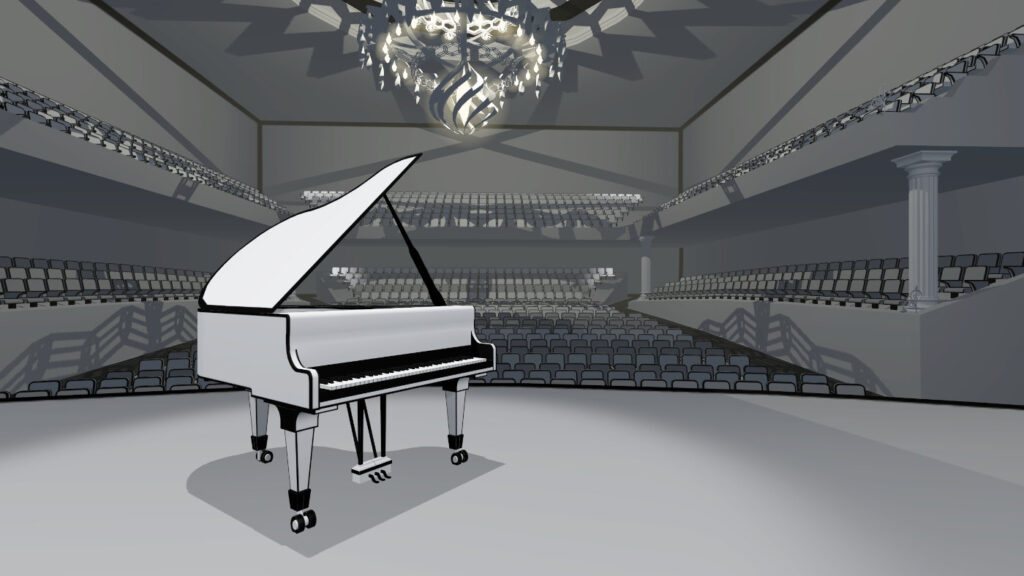 piano wing in virtual concert hall