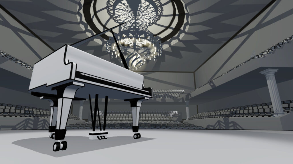 black and white lineart graphic in vr pianist music game