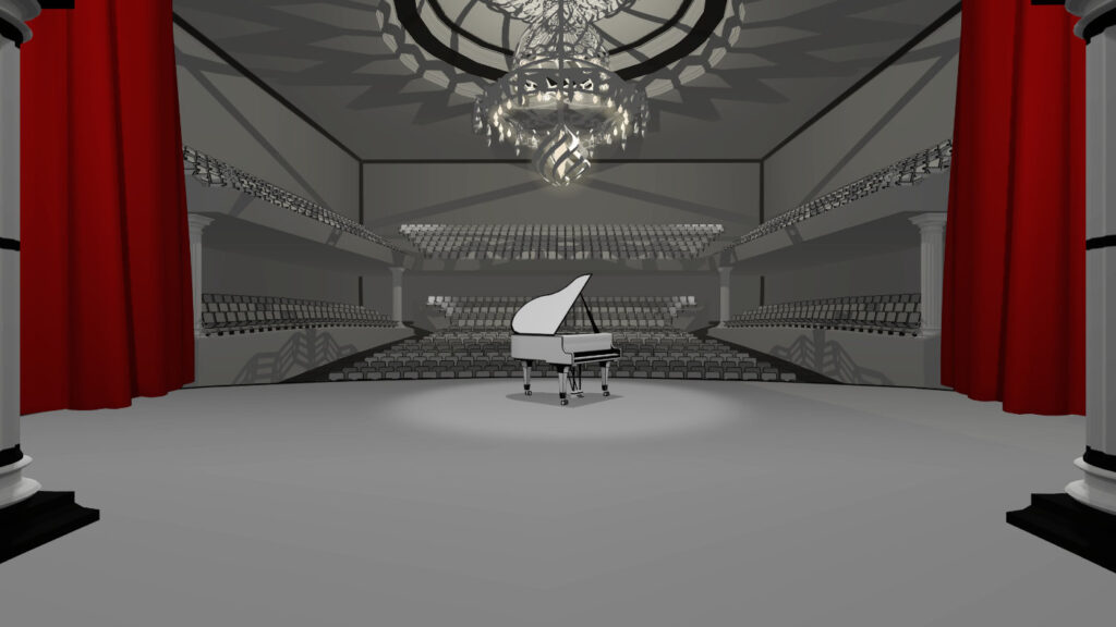 concert piano in vr game in black and white world