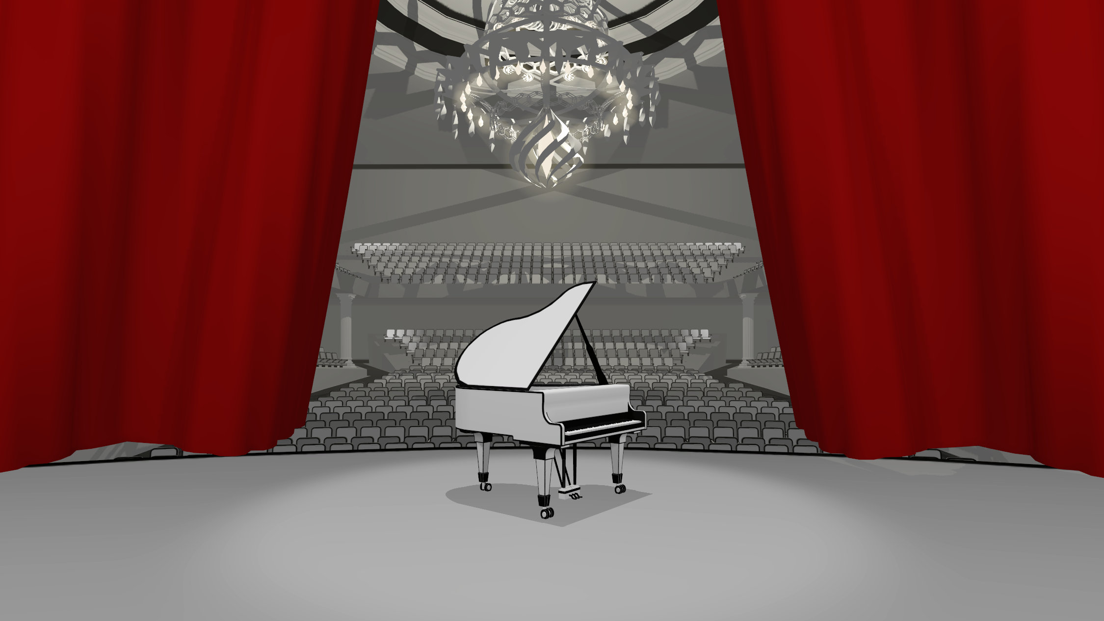 red curtain in concert hall in vr pianist game