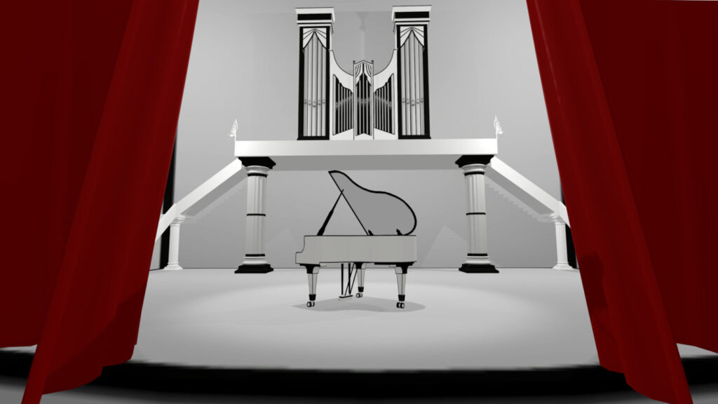 stage with curtain in vr music game