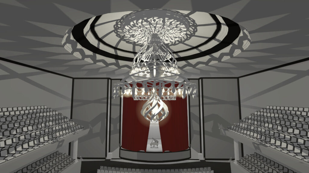 imposant chandelier in orchestral scene in virtual reality