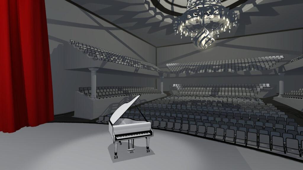 Vr Pianist black and white orchestral scene