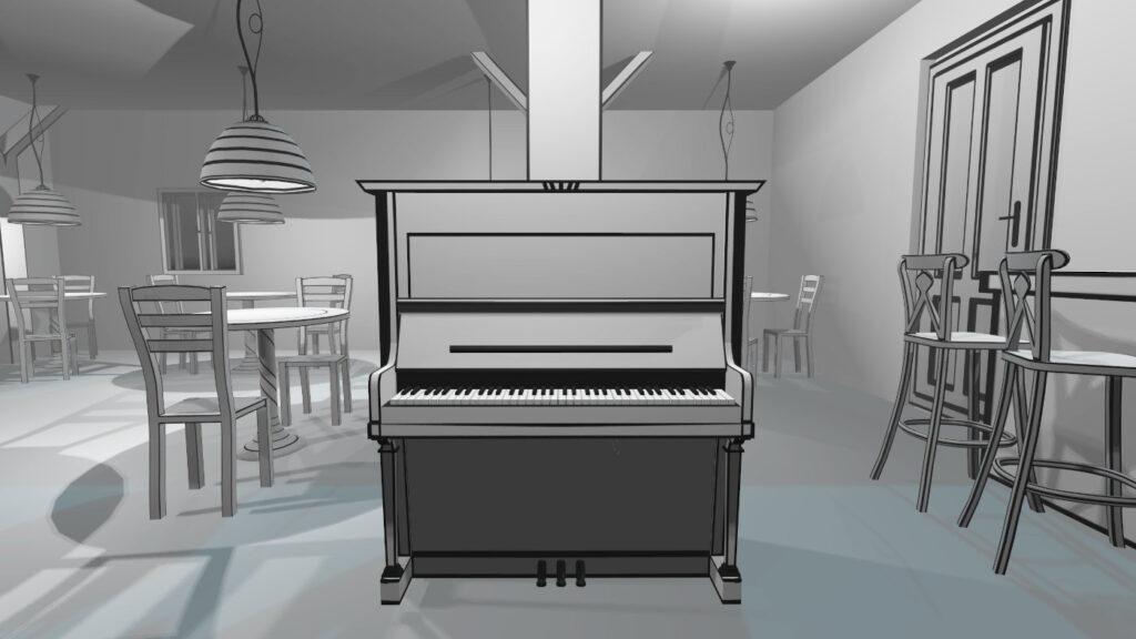 line art graphic in black&white game VR Pianist