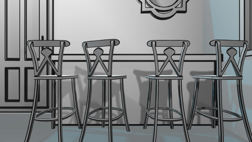 bar chairs in vr pianist cafe