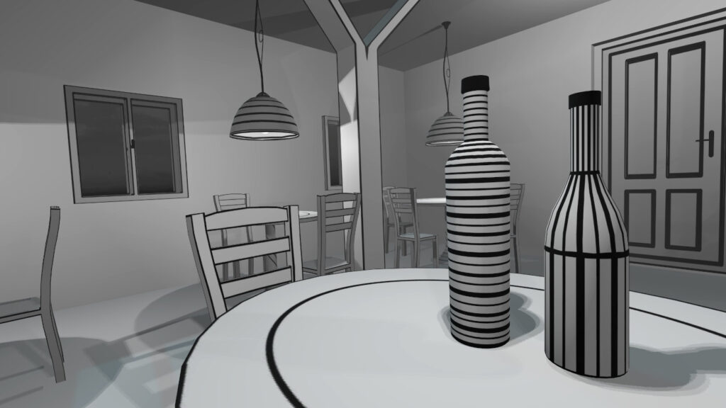 wines and some black&white stripes in vr pianist game