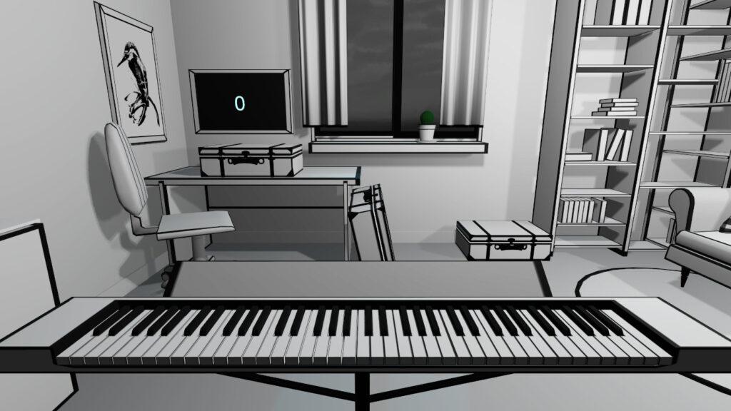 virtual piano in black&white graphic
