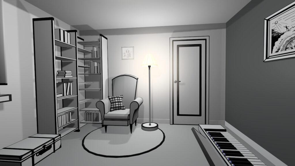 beiginning pianist bedroom in VR game
