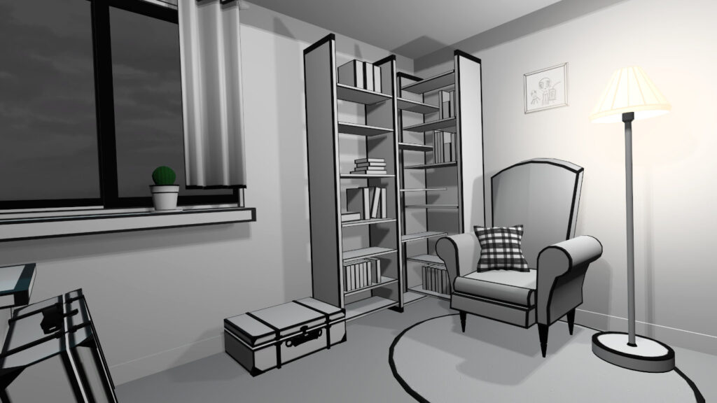 sofa, lamp and library in virtual reality game vr pianist