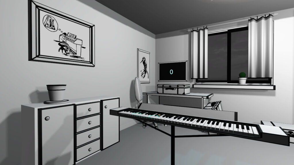 black&white pictures in vr pianist