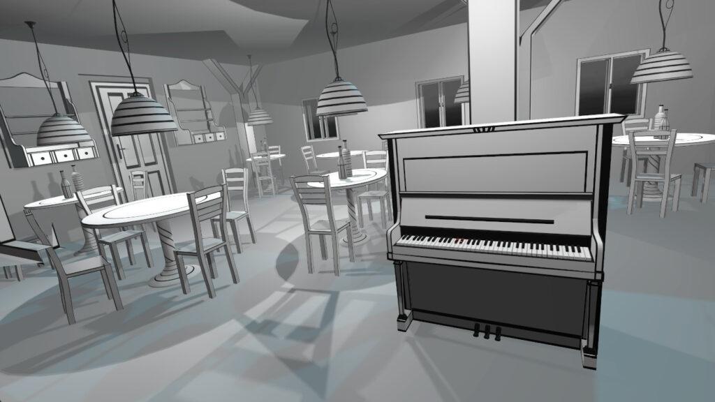 VR Pianist Black&White Cafe
