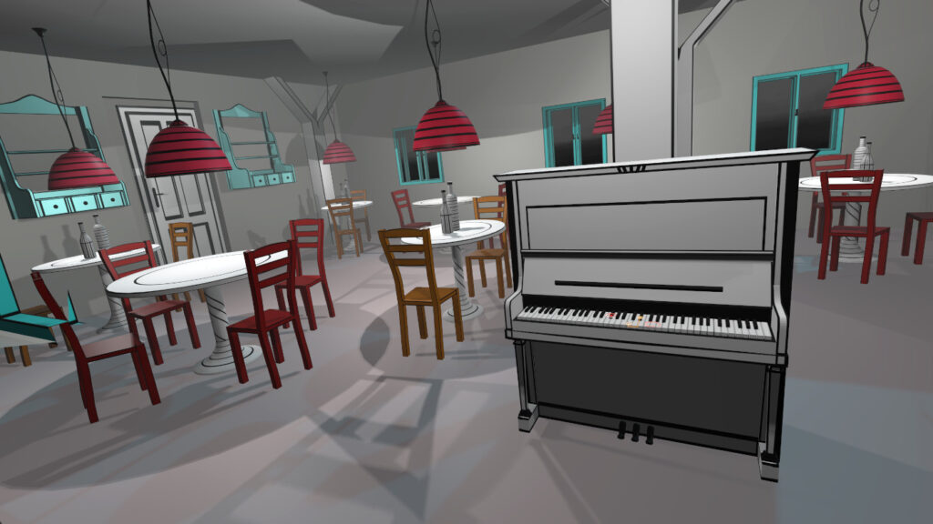 The better you play the more colors you get in VR Pianist game