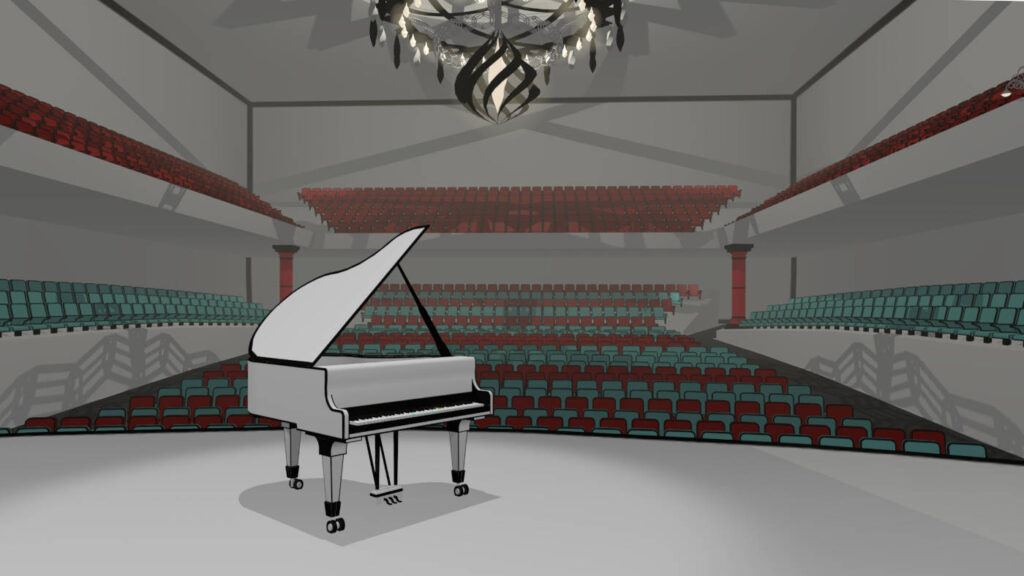 VR piano in music game