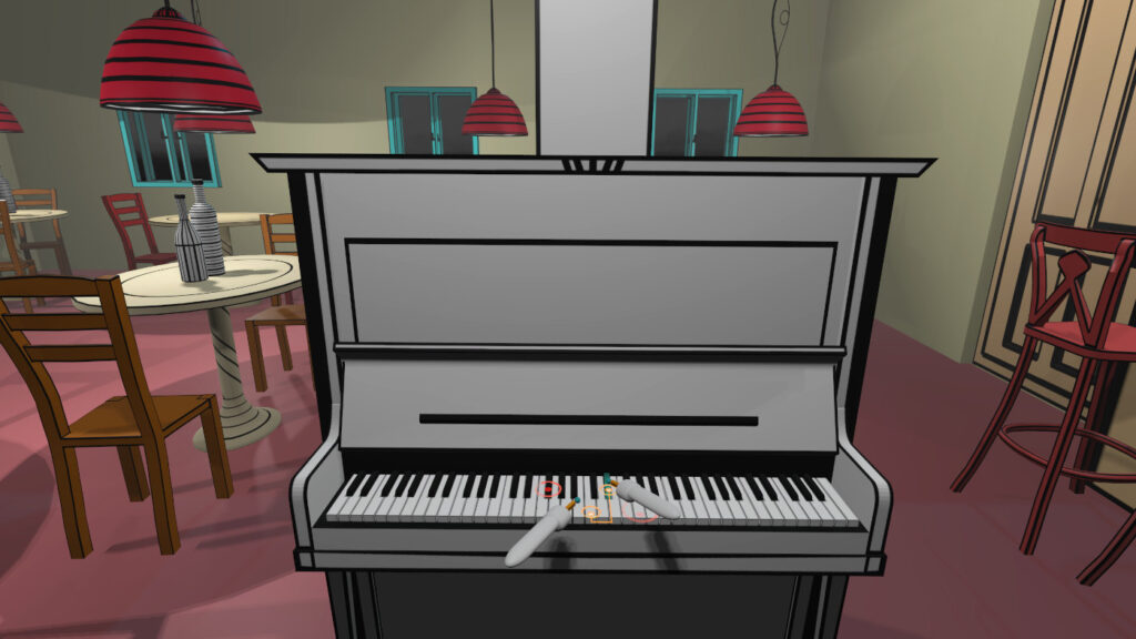 Playing the VR piano in virtual reality