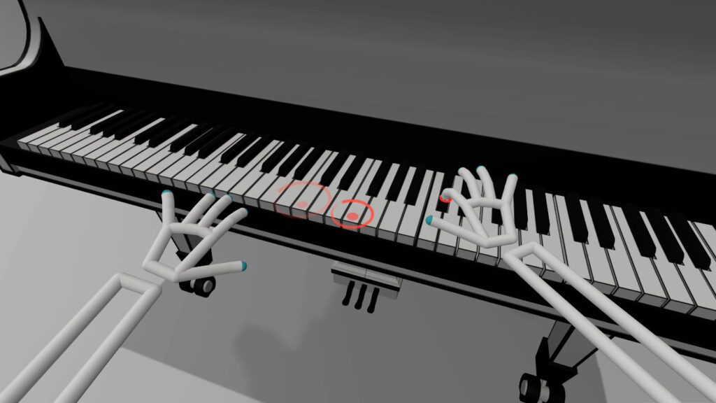 Circles above the VR piano in VR Pianist game