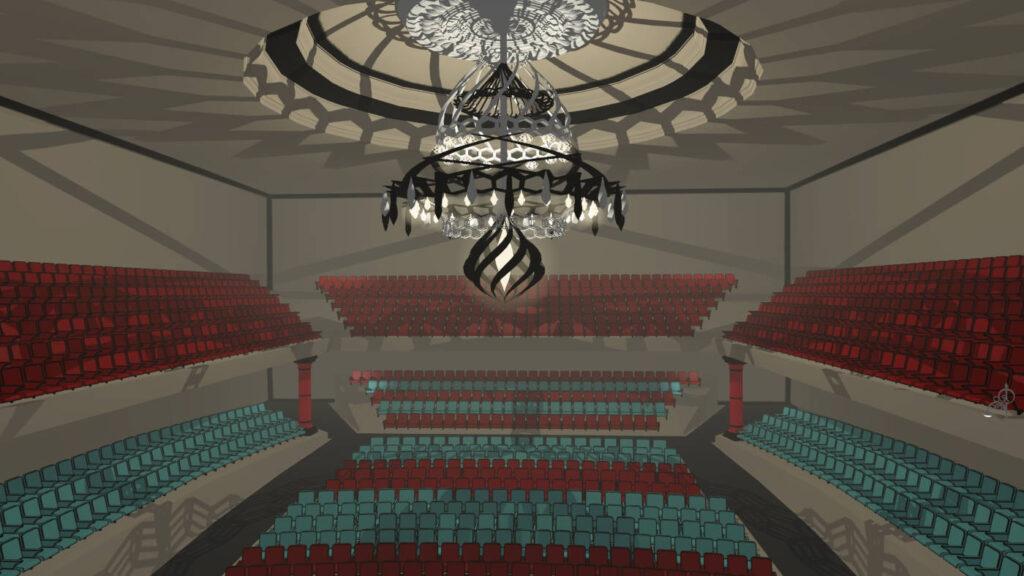 Chandelier in virtual scene of VR Pianist game