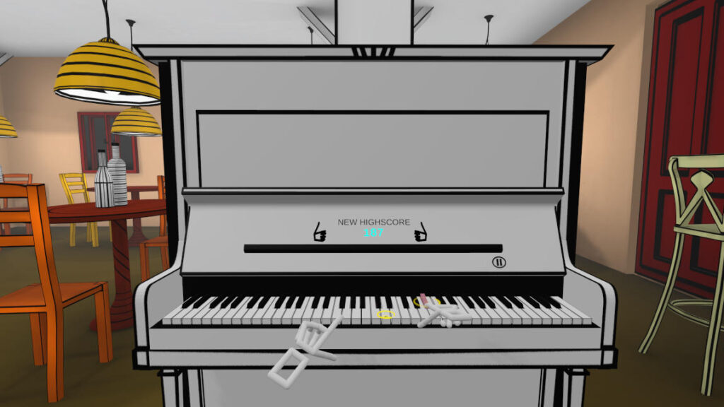VR Pianist colorful cafe