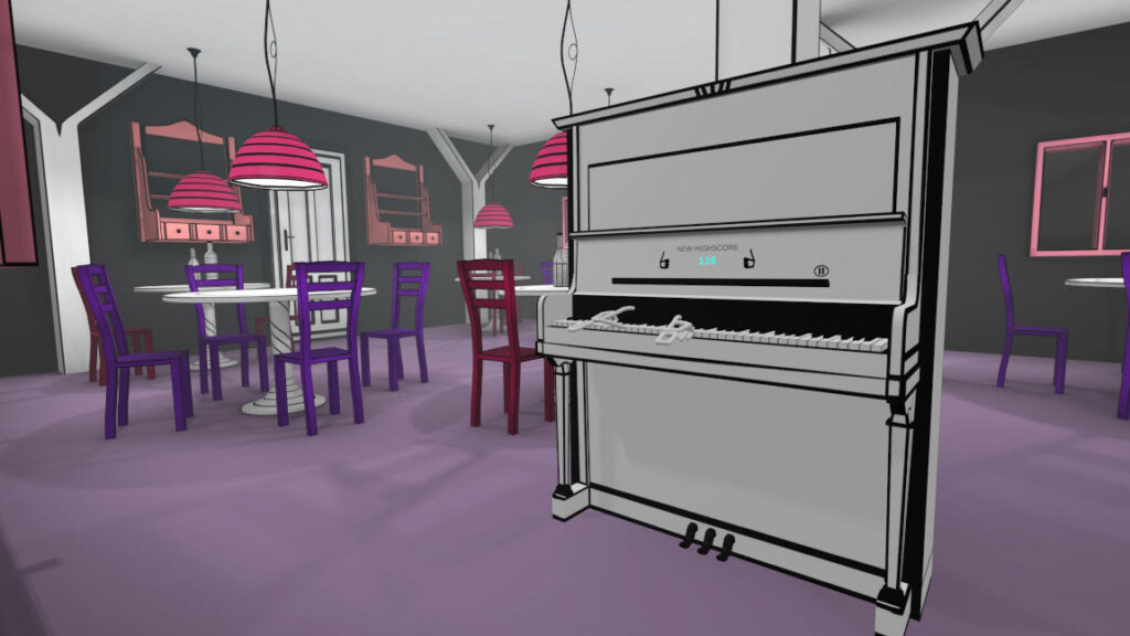 VR Pianist game on virtual reality