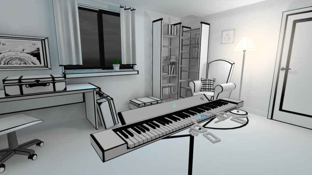 Black and white graphic in VR Pianist
