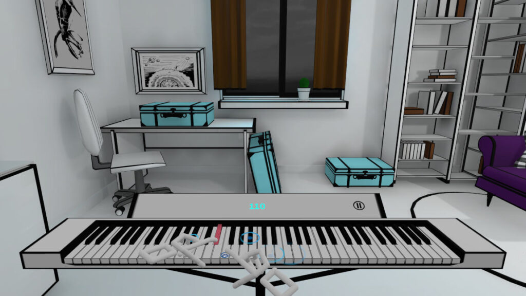 Play on the piano according circles in virtual reality