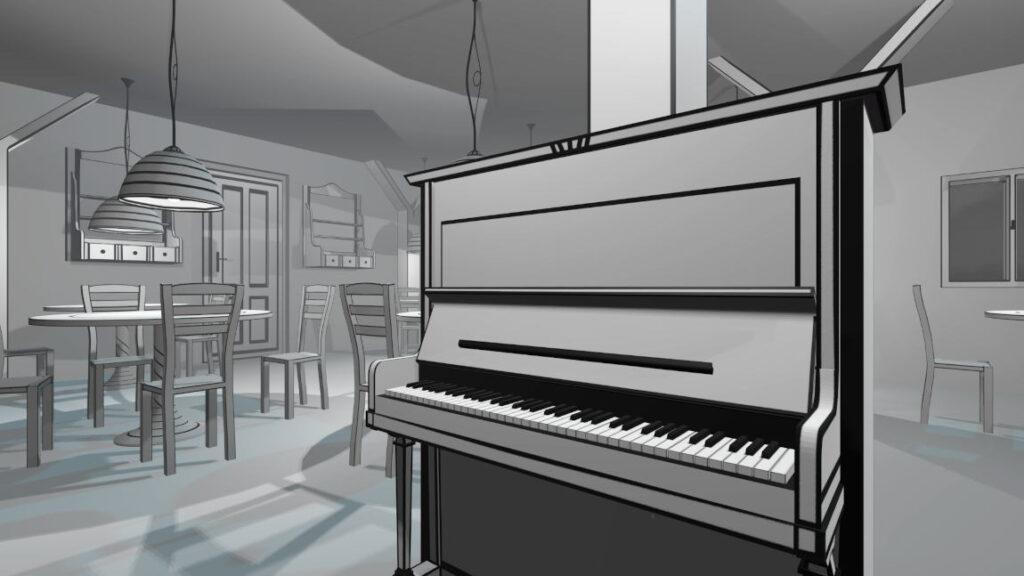 Black & White piano in VR Pianist