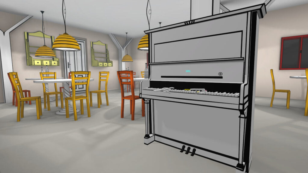 Colorful cafe in VR Pianist game